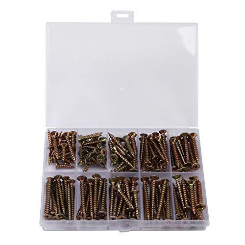Haude 160 piezas tornillo de madera M3.5-M4 cruz avellanada cabeza tornillo roscado galvanizado construcción tornillo clasificación kit