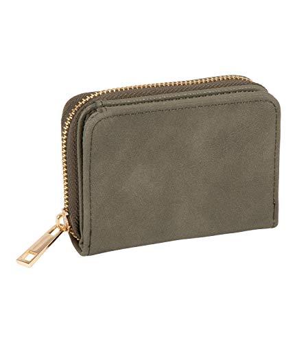 SIX Khakifarbenes Mini-Wallet in Wildlederoptik (703-785)