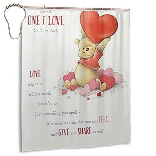NBHJU Personalisierte dekorative Duschvorhang Winnie The Pooh Liebe Herz Badezimmer Dekorationen Geschenke für Männer Frauen Jungen Jungen 60x 72 Zoll