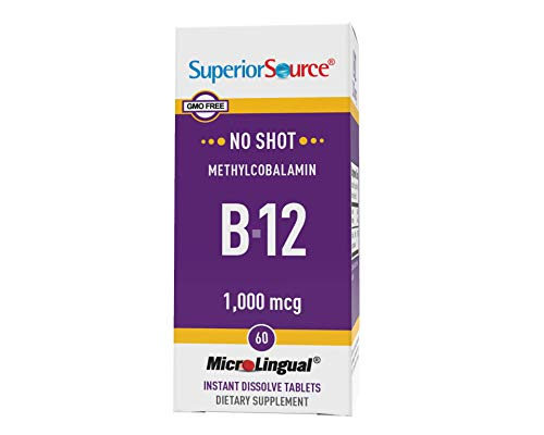 Superior Source No Shot Vitamin B12 Methylcobalamin 1000 mcg, Quick Dissolve Sublingual Tablets, 60 Count, Active Form of B12, Increase Metabolism, Energy Production, Nervous System Support, Non-GMO