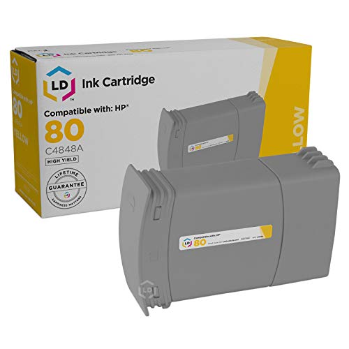 Price comparison product image LD Remanufactured Ink Cartridge Replacement for HP 80 C4848A (Yellow,  4-Pack)