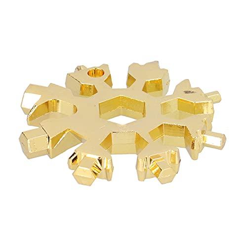 Multiherramienta, llave de copo de nieve 18 en 1 con llavero para exteriores(oro)