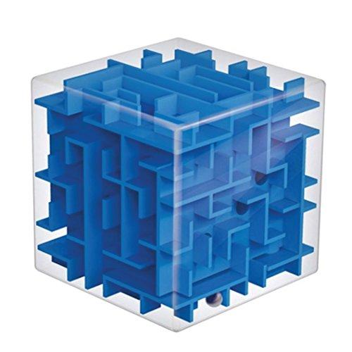 Cubo laberinto tridimensional. Juego de coordinación y destreza. Azul