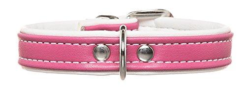HUNTER Hundehalsband, Modern Art, Kunstleder, kleine Hunde, klassisch, 42 (S), pink/weiß