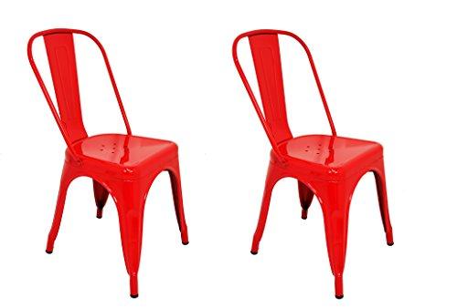 Pack 2 Sillas estilo Tolix con respaldo. Color Rojo. Medidas 85x54x45,5