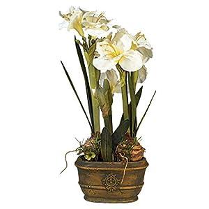 RTR_GF Artificial White Amaryllis 25″ High Faux Flower Arrangement Home Décor