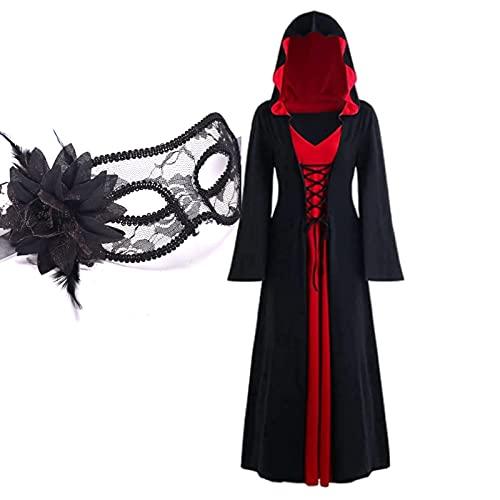 XIAOBUDIAN Vestido De Halloween Vampiro para Mujer,Medievales GTicos para Mujer,Vestidos Renacentistas para Mujer, Talla Grande, con Capucha, Vestido De Fiesta De Cosplay (L,1)
