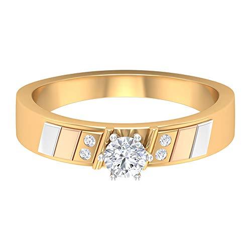 Anillo de compromiso único HI-SI 1/4 CT 4 mm solitario anillo de diamante de diamante vintage, anillo de aniversario para mujer, anillo art decó, oro de 14 quilates, Metal, Diamond,