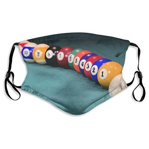 MayBlosom Billiards Gesichtsabdeckung Mundschutz Halstuch Unisex Winddicht Atmungsaktiv Wiederverwendbare Anti-Staub-Schild