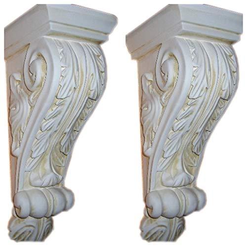 Antikes Wohndesign 2 x Wandkonsole Wandkonsolen Wandablage Weiß-Matt-Antikfinish