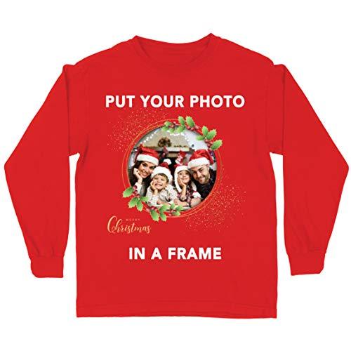 lepni.me Camiseta para Niños Marco Personalizado Vacaciones de Navidad Regalo Personalizado Foto Familiar (14-15...