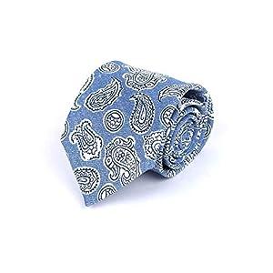 [ブリューワー] ペイズリー柄 ネクタイ ブルー 麻 シルク 277-38918-140 青色 イタリア製 メンズ