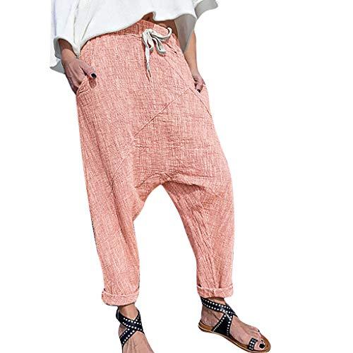 Lazzboy Frauen Plus Größen-Reine Farben-Taschen-breite Bein-Hosen-baumwollleinenhose Damen Kurze Hose Mit Knopfleiste | Baggy Zum Tanzen Sweatpants Trainingshose(Orange,L)