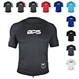 BPS Men's UPF 50+ Short Sleeve Swim Shirt/Rash Guard with Sun Protection (Charcoal, S)