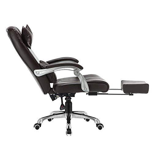 Computerstuhl Höhenverstellbarer Computertischstuhl mit Fußstütze PU-Lederspielstuhl mit hoher Rückenlehne Ergonomischer Bürostuhl mit Kopfstütze und Lordosenstütze Braun