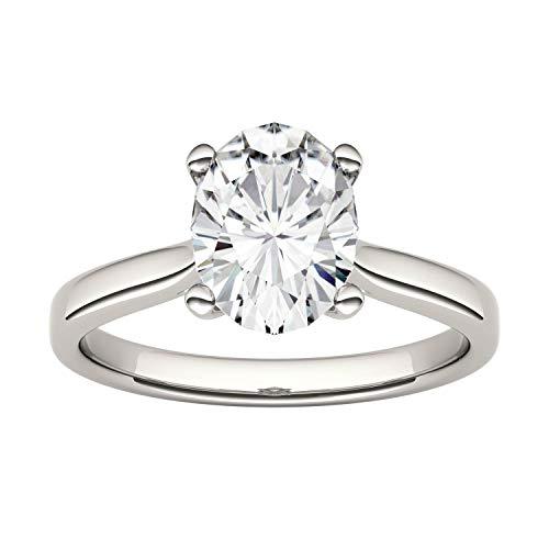 Charles & Colvard Forever One anillo de compromiso - Oro blanco 14K - Moissanita de 9 mm de talla oval, 2.1 ct. DEW, talla 14,5