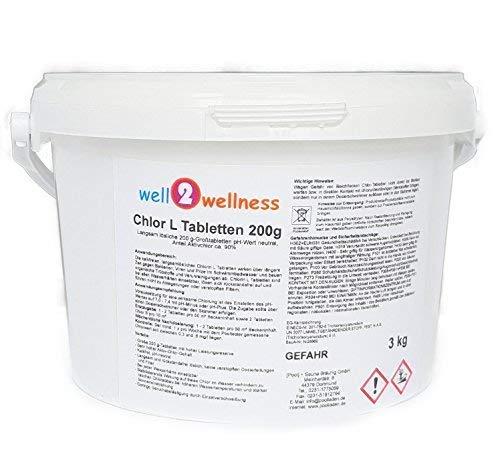 well2wellness Chlor L Tabletten 200g - langsam lösliche Chlortabletten a 200g mit 90% Aktivchlor 3,0 kg