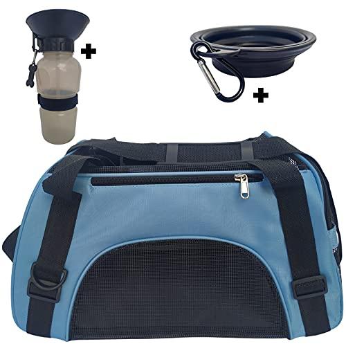 Thrasto - Transportin para Perro Gato. Mochila Bolso pequeño para el Transporte de Tus Mascotas, Medidas aptas para Viaje en Avion. con comedero Plegable y Bebedero portátil