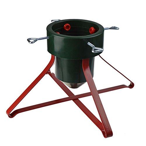 Socle pour sapin de Noël - traditionnel/support en plastique/structure en métal - rouge/vert