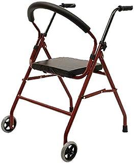 Elderly Walker Removable back support, multifunctional non-slip folding chair Carbon steel walker, suitable for the elderl...