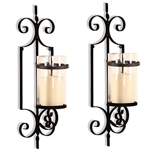 Asense Iron and Glass Vertical Wall Hanging Candle Holder Sconce Wall Decor for Living Room, Bedroom (Set of 2) (Vintage Swirls(2pcs))