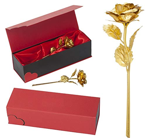 Remmo&Love Gold Rose LUXUS Goldene Rose Vergoldete Rose für Ewige Liebe mit 24K Gold veredelt Geschenk Valentinstag Jahrestag Hochzeitstag Geburtstag Muttertag Weihnachten Romantische Liebes Geschenk Idee