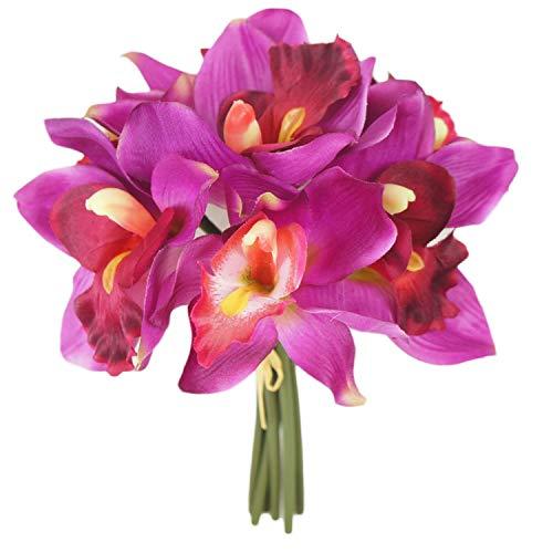 Lily Garden Mini 7 Stems Cymbidium Orchid Bundle Artificial Flowers (Magenta)