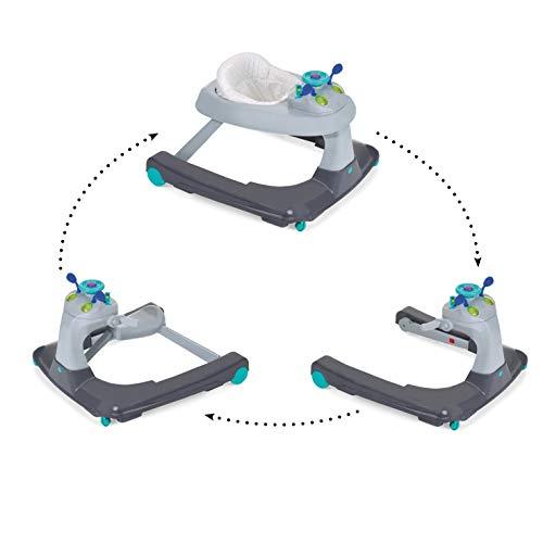 Hauck Ride On 1-2-3 - Andador 3 en 1, a partir de 6 meses hasta 12 kg, con ruedas, luces & música, mesa de juego y asiento desmontable, regulable en altura, Hearts (gris-azul)