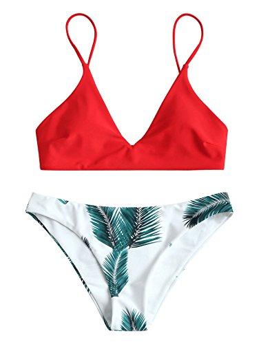 ZAFUL Damen Push Up Gepolsterter Bikini-Set Blatt Drucken Badehose Bademode Badeanzug Rot S