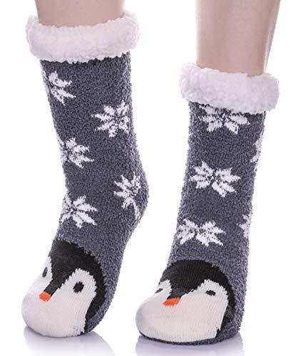 LANLEO Womens Cute Cartoon Animal Fuzzy Slipper Socks Winter Soft Warm Fleece Lining Knit Home Socks With Grippers (Blue Penguin)