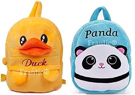 Frantic Velvet Kids School/Nursery/Picnic/Carry/Travelling Bag - 2 to 5 Age (2Pack_Best_ SkyBlue_Panda_DuckP)