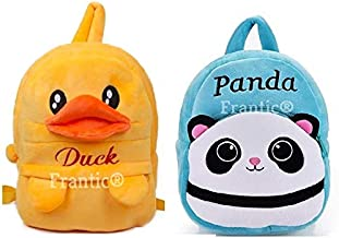 Frantic Velvet Kids School/Nursery/Picnic/Carry/Travelling Bag - 2 to 5 Age (2Pack_Best_ SkyBlue_Panda_DuckP)
