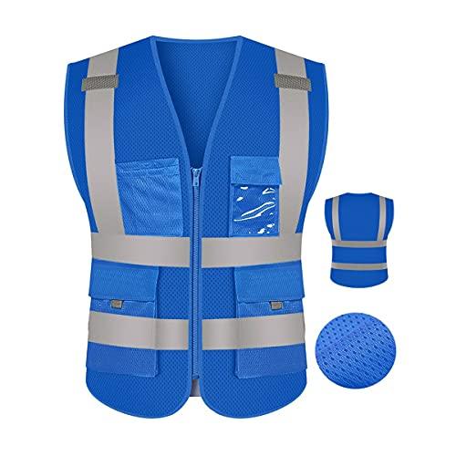 Chaleco de seguridad reflectante de alta visibilid Chaleco de seguridad amarillo fluorescente, reflectante con bolsillos y cremallera para ropa de trabajo de hombres chalecos de seguridad reflectantes