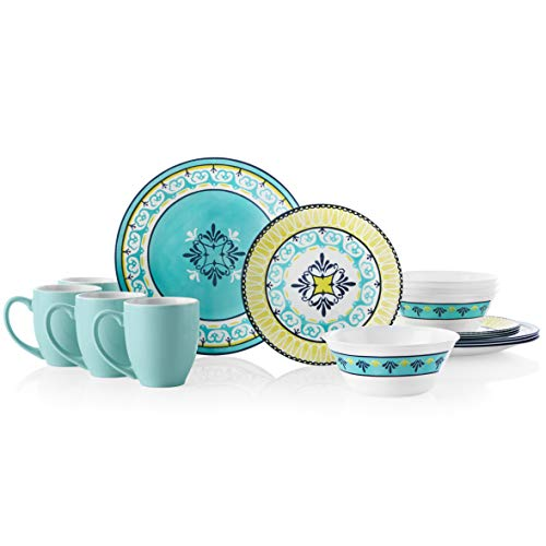 Corelle 16-Piece Dinnerware Set Service for 4, Chip Resistant, Glass, Sorrento
