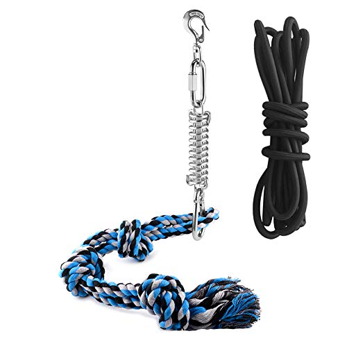 Heavy Duty Dog Rope Toys with A Big Spring Pole for Medium to Large Strong Dogs, Outdoor Hanging Rope for Dog Muscle Building, Exercise, Pull & Tug, Suitable for Pit Bull & All Breeds