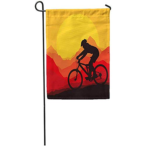 Seasonal Garden Flags 12' x 18' Silhouette Mountain Bike Rider in Wild Nature Landscape Bicycle Adventure Outdoor Decorative House Yard Flag