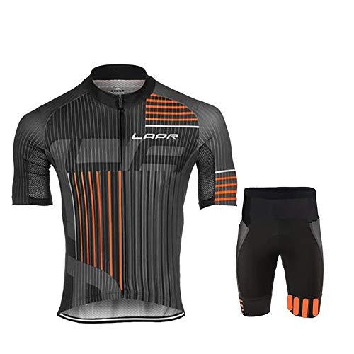 Conjunto de Jersey de Ciclismo para Hombre Ciclismo de Manga Corta con Pantalones Cortos Acolchados de Gel 5D Conjunto de Ropa de Ciclismo de Bicicleta de Carretera MTB