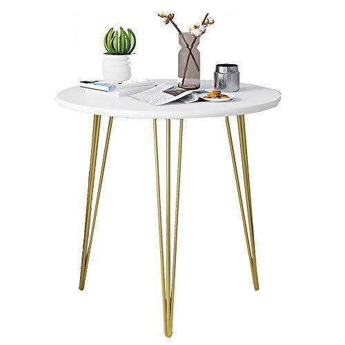 Axdwfd Beistelltisch Klapp-Beistelltisch, Naturholzplatten, Metallbank Beine, Weiß - Größe Optional (Size : 60x60x61cm)
