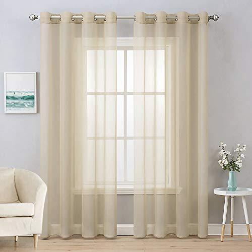 MIULEE 2 Panels Solid Color Beige Sheer Curtains Elegant Grommet Window Voile Panels/Drapes/Treatment for Bedroom Living Room (54X96 Inch)