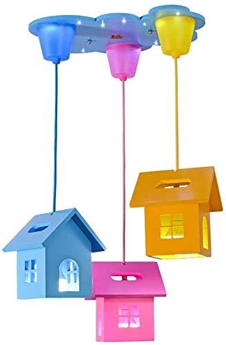3 cabezas cálida brillante techo techo chandeliercolor pequeño casa forma colgante lámpara creativa hermosa habitación de niños decoración de la decoración colgante de la luz de la luz de la luz de la
