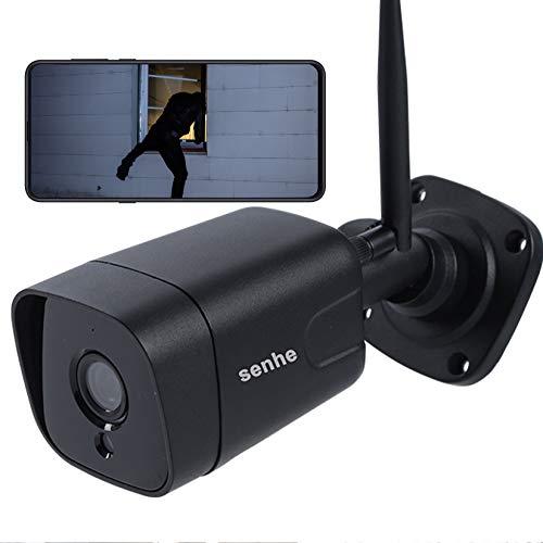 Telecamera Wifi Esterno Senza Fili Senhe 1080P Videocamera Sorveglianza Esterno Wifi con IP66,Rilevamento di Movimento,Visione notturna,Audio Bi-direzionale,Supporta Scheda SD 128G,IOS/Android/Windows