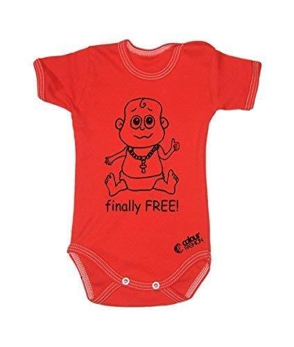 Colour Fashion Drôle Finally sans Garçon Fille Unisexe Combinaison Manche Courte 100% Cotton Petit Bébé - 24 Mois 0025 - Rouge, Tiny Baby, 52 cm