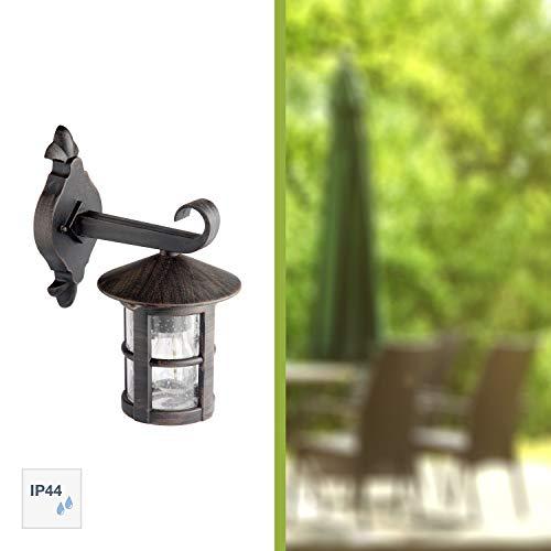 Brilliant Jordy Außenwandleuchte, hängend, 1-flammig, E27, 1 x 60 W, Metall/Glas, schwarz/rost/braun/gewischt 45582/60