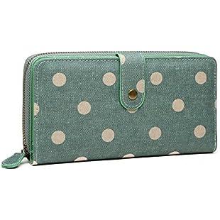 Sage Green Spotty Polka Dot Matte Oilcloth Purse Ladies Fashion Wallet