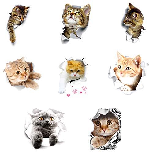Gwotfy 3D Katzen Wandtattoo, 8 Stück Katzen Aufkleber Wand WC-Aufkleber Wandsticker Wandaufkleber wasserdichte Kühlschrankaufkleber Türaufkleber Küche Wand Dekor für Chlafzimmer Heimdekoration