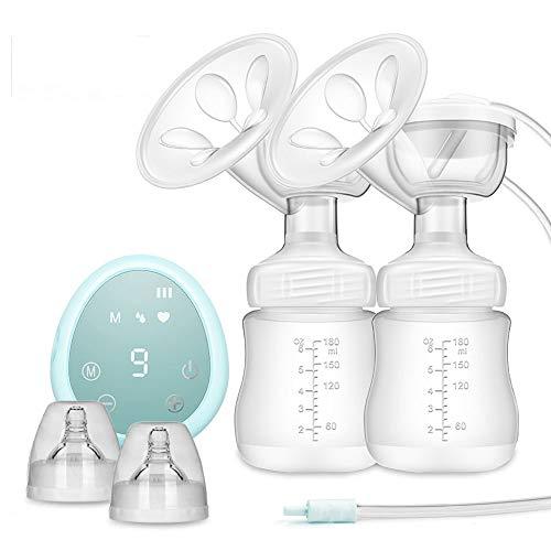 ZEHNHASE Elektrische Doppel Milchpumpe Brustpumpe, Voll-Touchscreen LED Anzeige Pumpe BPA-frei & 100{fcc3354d0df73ff652aafa479be77db458d3ae285658a8f630a03359326196db} lebensmittelgeeignetes Silikon Schnuller mit Massage & Absaugung (Blau)