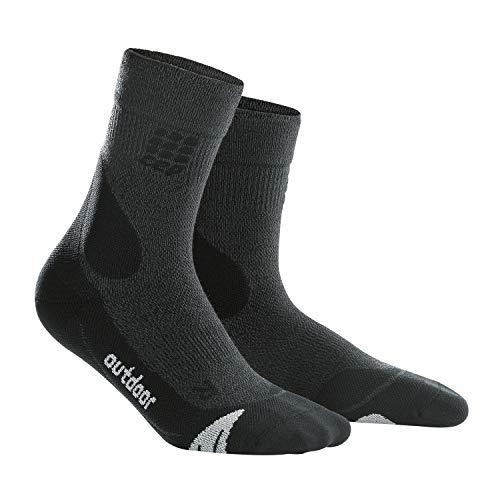 CEP – HIKING MERINO MIDCUT SOCKS für Damen | Warme Wandersocken knöchellang in grau / schwarz | Größe III