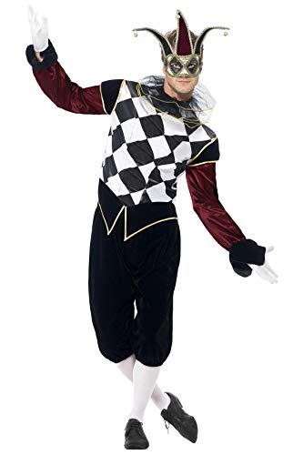 """Smiffys-43653M Disfraz de arlequín gótico Veneciano, con Camiseta, pantalón y Cuello, Color Negro, M-Tamaño 38""""-40"""" (Smiffy"""