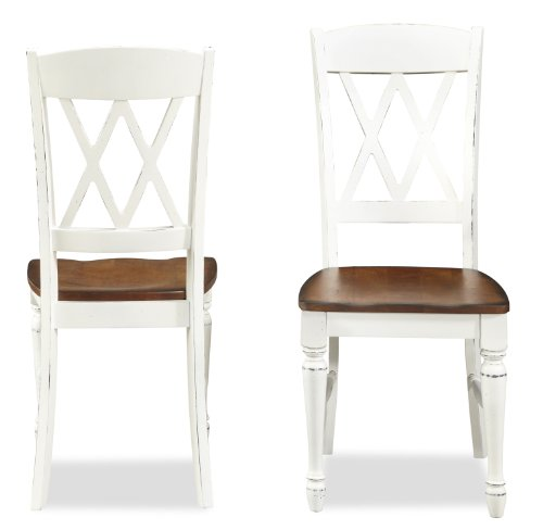 Home Styles Monarch Double X-back White and Oak Dining Chairs, with Solid Hardwood Construction, Turned Legs, and Distressed Oak Finish, Set of Two