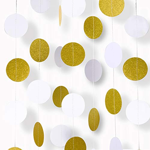 Paper Garland, MerryNine 5 Pack 33ft Glitter Paper Garland Circle Dots Hanging Decor, Paper Banner for Baby Shower, Birthday, Nursery Party Decor (Circle Polka Dots- White Gold 5pack 33ft)